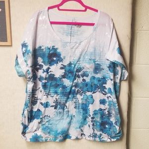 Lane Bryant Teal and White Sequin Tee